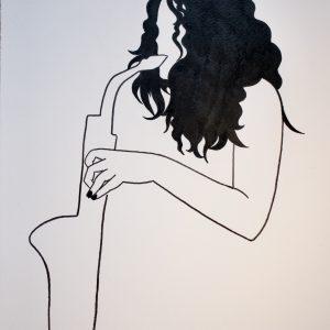 A4 Silvertongue Surface Sax Print Pen & Ink Sketch